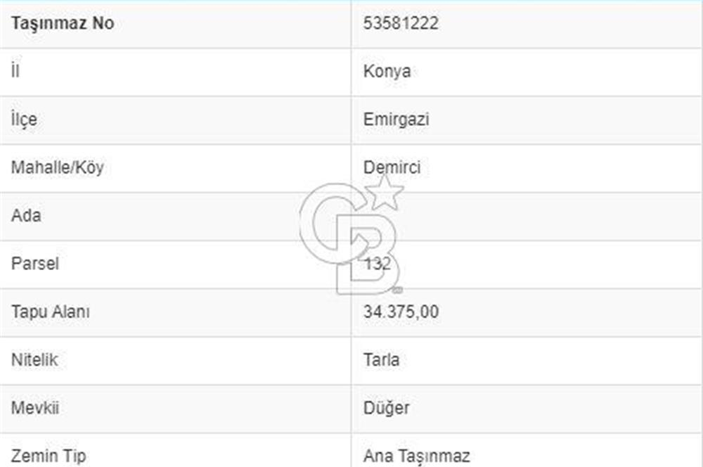 EMİRGAZİ DEMİRCİDE 34.375.m2 TARLA