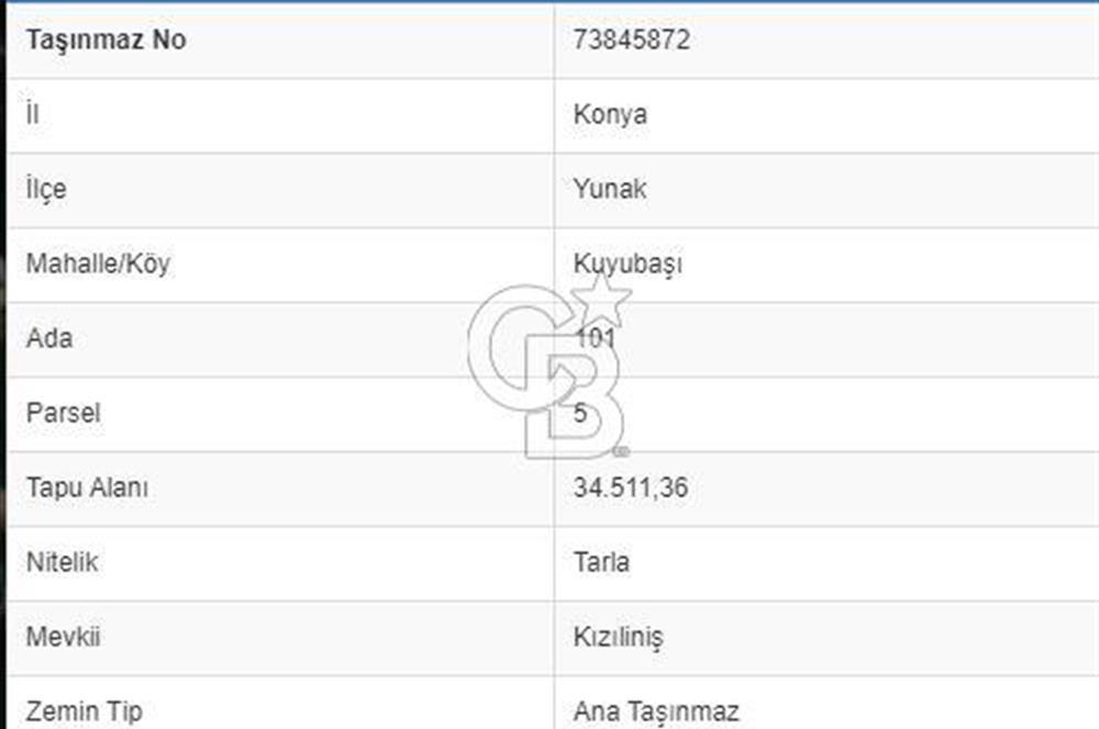 YUNAK KUYUBAŞI KIZILİNİŞ MEVKİİ 34.511m2 TARLA