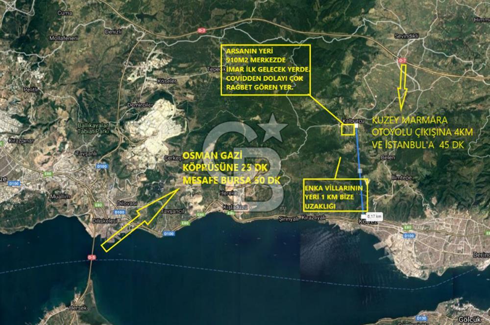 Körfez Kalburcuda İstanbul'a 45dk Mesafede Merkezi Satılık Arsa