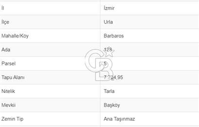 İZMİR URLA BARBAROS KÖYÜ'NDE SATILIK 7705 M2 TARLA